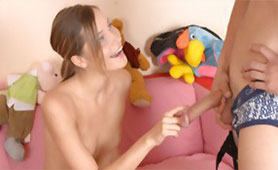 Enthusiastic Teen Girl Wants to Play with this Big Toy