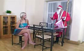 Santa Claus Fulfills Dirty Desires of a Naughty Pigtail Teen